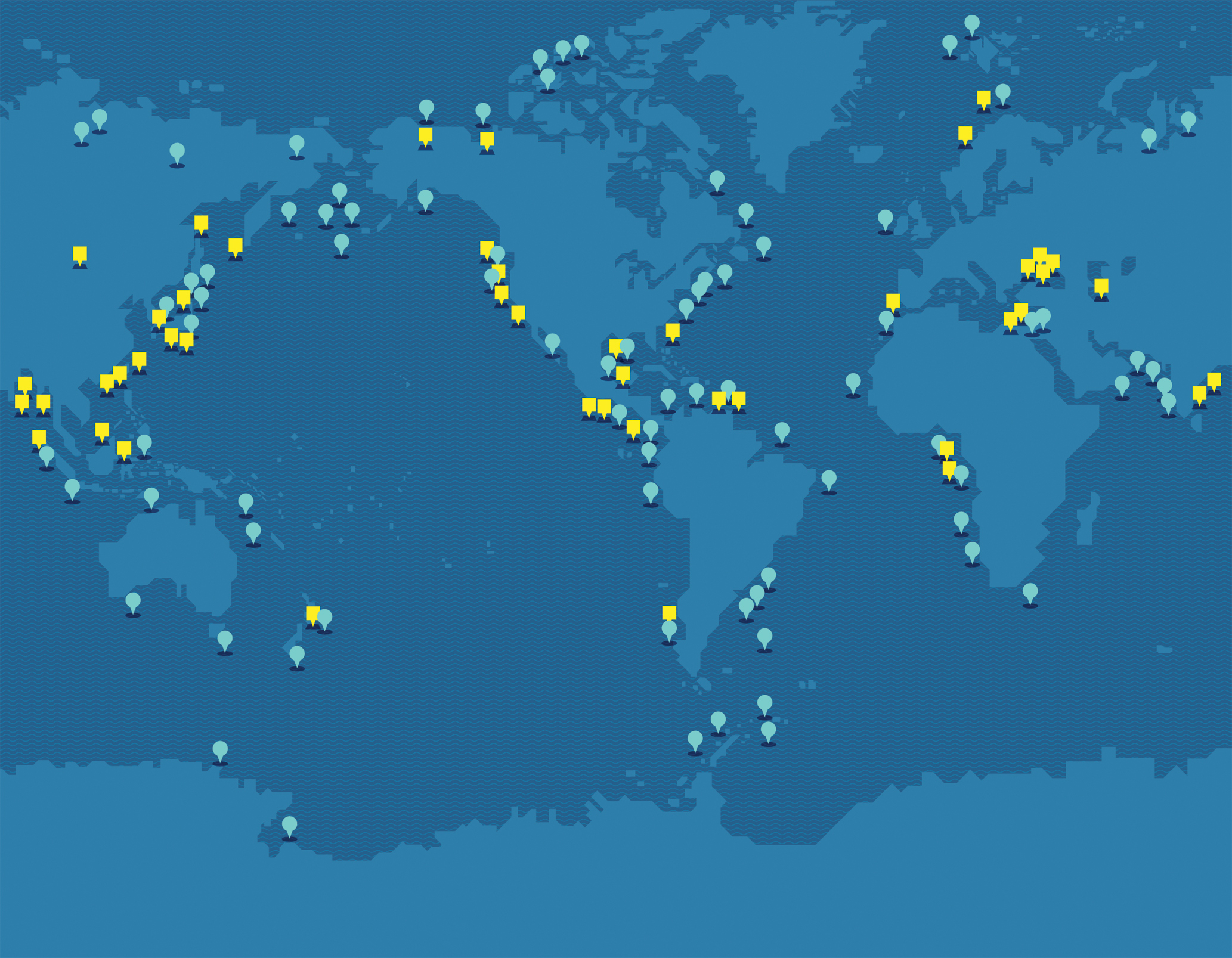 Stored mostly in broad, shallow layers beneath the seafloor, methane hydrate is, by some estimates, twice as abundant as all other fossil  fuels combined. The yellow squares show where methane hydrate has already been recovered; the blue dots, where it is thought to exist. (Map by Alice Cho)