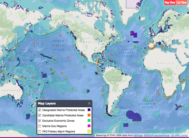 MPAtlas Map Gallery - Map of us and oceans