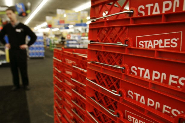 Staples' stock plunges to a 13-year low