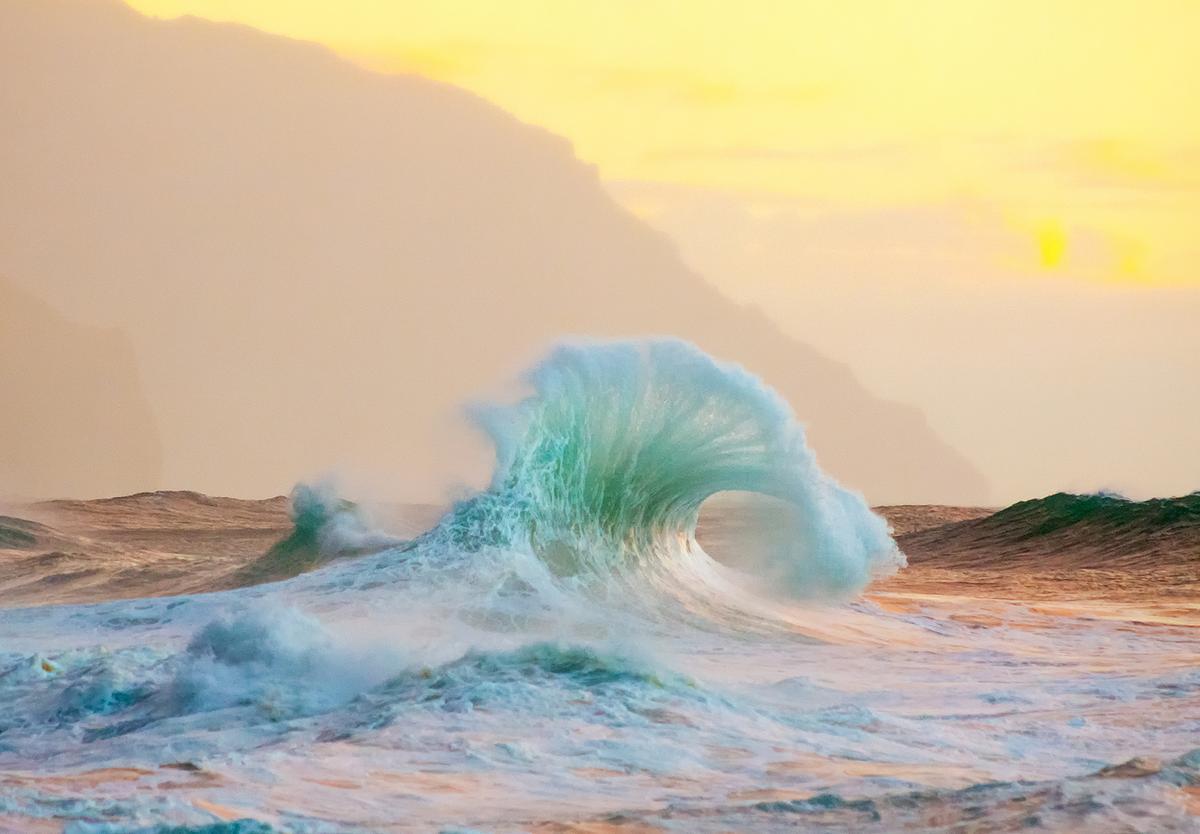 A breaking wave aglow in Kauai, Hawaii; Lace Andersen [OS][1200 x 834]