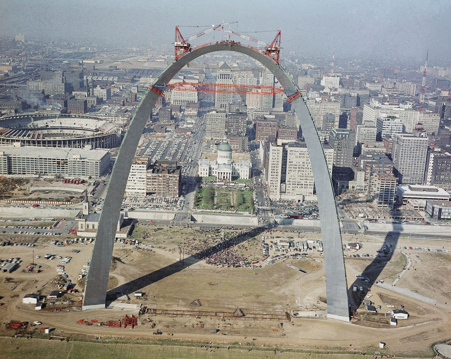 The placing of last link in the Gateway Arch, 1965, in St. Louis, Missouri.