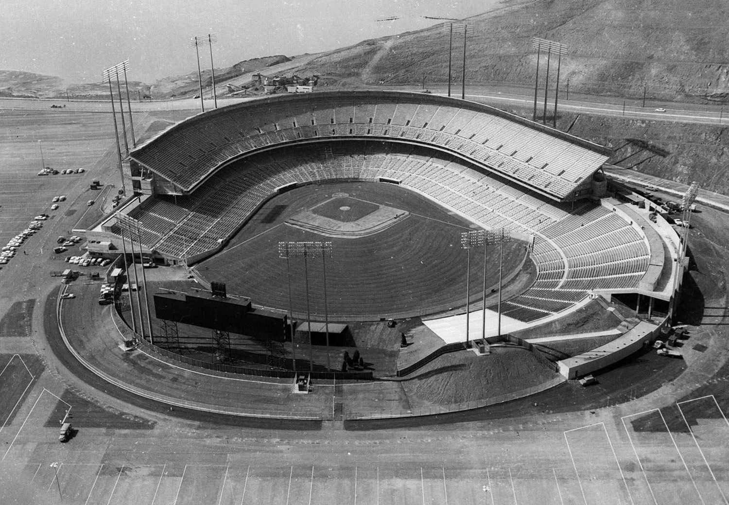 Candlestick Park, photographed from above on <span>April 1, 1960, shortly before its first game</span>.