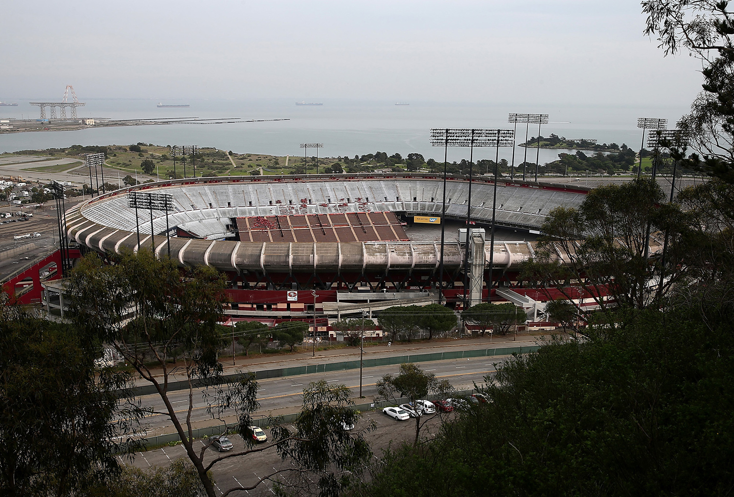 A general view of Candlestick Park on February 4, 2015, as a months-long demolition project began.