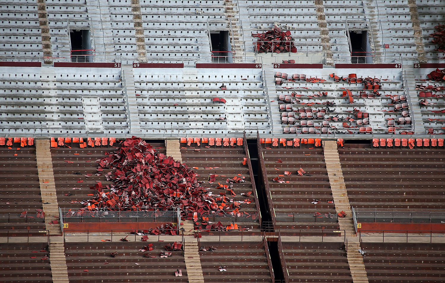 A pile of torn-out stadium seats sits in an empty section inside Candlestick Park on February 4, 2015, during demolition.