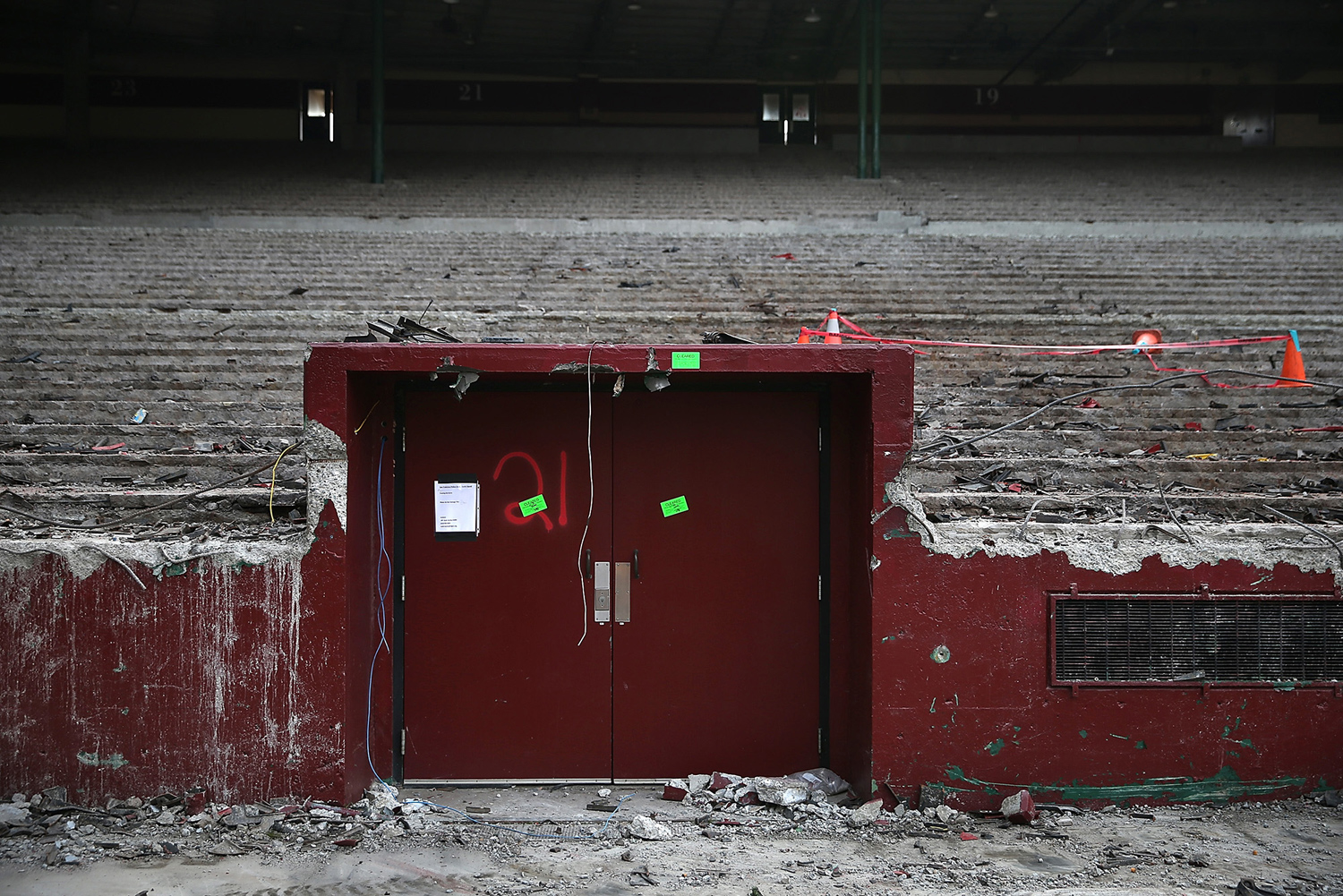 The entrance to the visiting team's locker room remains inside Candlestick Park during demolition on February 4, 2015.