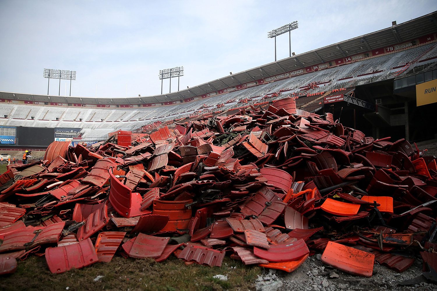 A pile of stadium seats sits on the field inside Candlestick Park on February 4, 2015.
