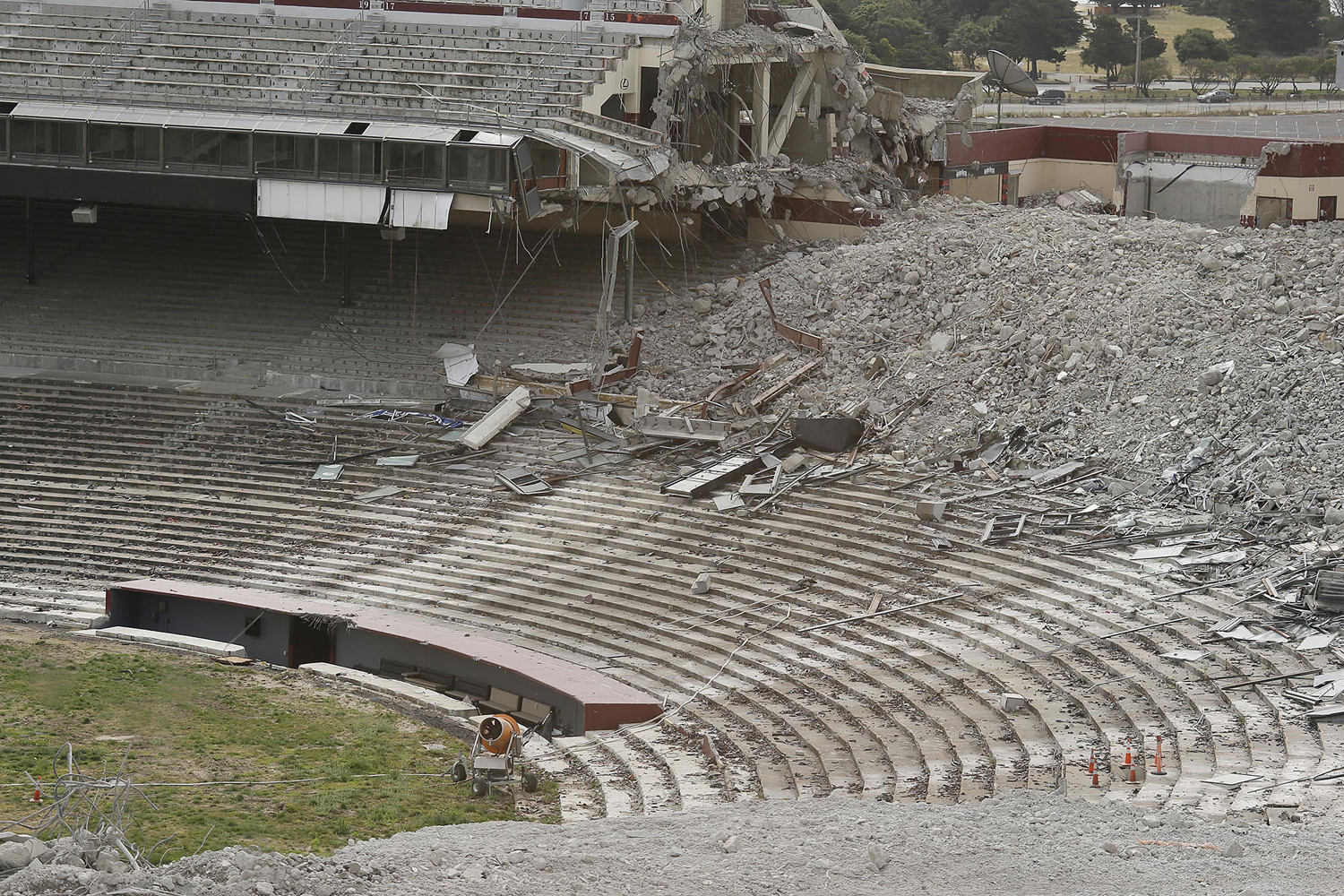 What was once the San Francisco Giants dugout still remains as demolition continues at Candlestick Park on May 14, 2015.