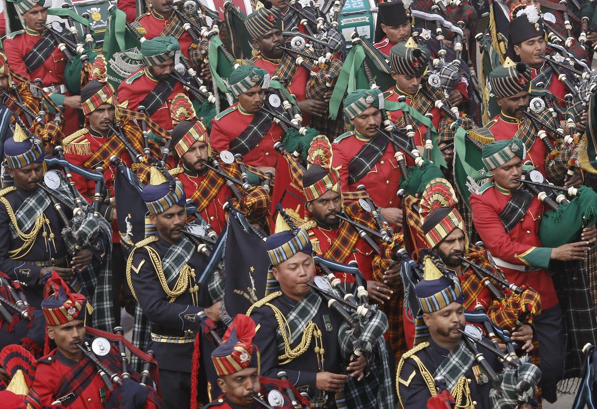 2016印度共和國日閱兵式上的軍樂團。