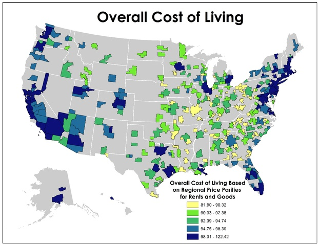 Cost of living is really all about housing citylab Cost of living in different states in usa