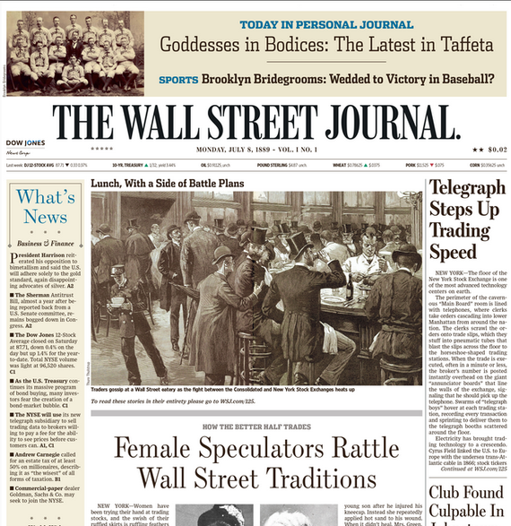This is a rendition of the articles in the first issue of the Wall Street Journal in 1888, as they might have been displayed in 2016. Photo from TheAtlantic.com