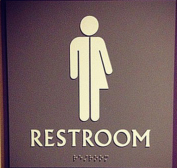 I Think A Sign With Disabled Person Forward Slash And Then Gender Neutral Toilet