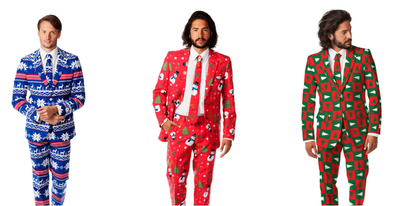 These Ugly Christmas Sweater suits are sold out, but are on pre-order for Christmas 2015. (shinesty.com
