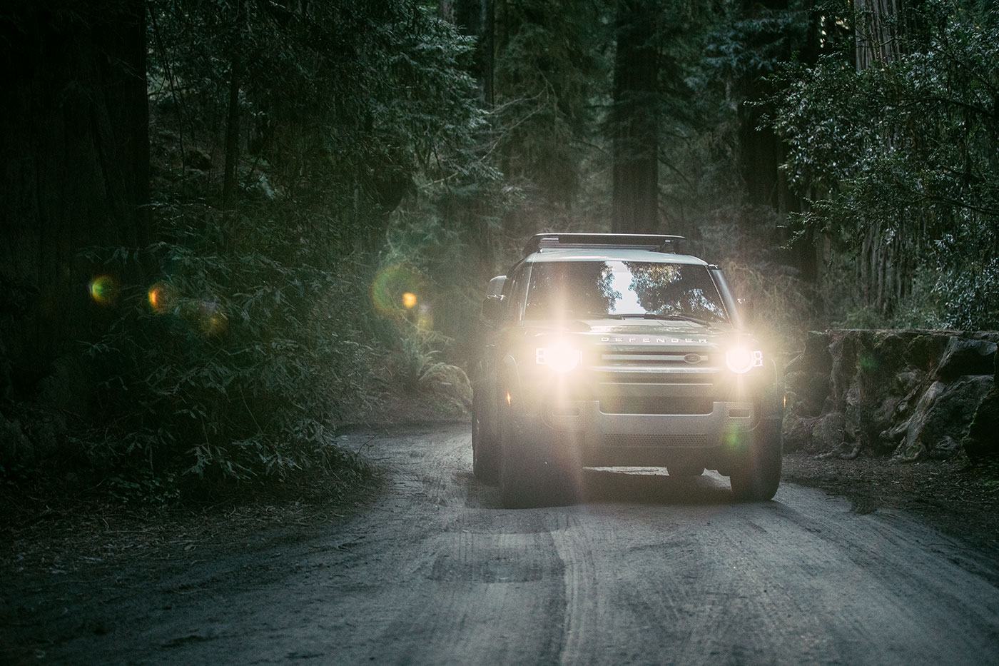 The new 2020 Land Rover Defender 110 in Jedediah Smith Redwoods State Park in Northern California