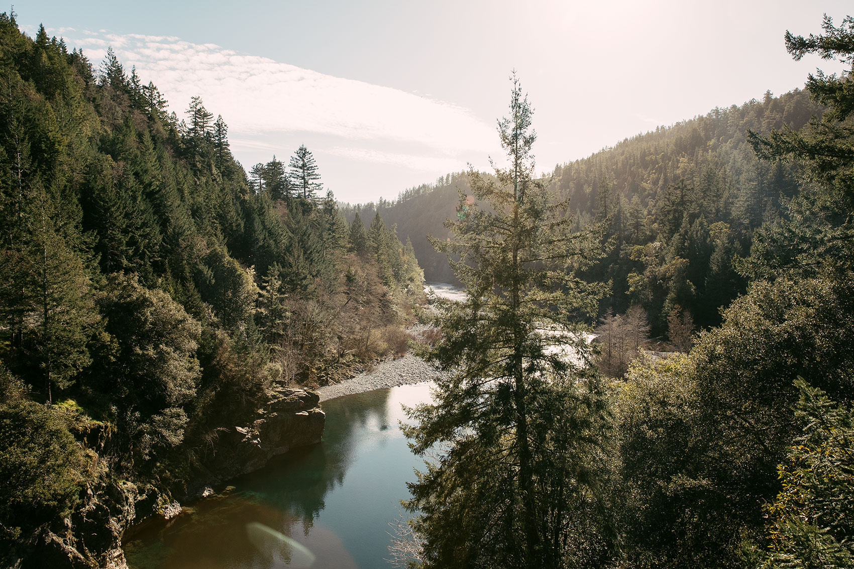 The Smith River winding through Jedediah Smith Redwoods State Park in Northern California
