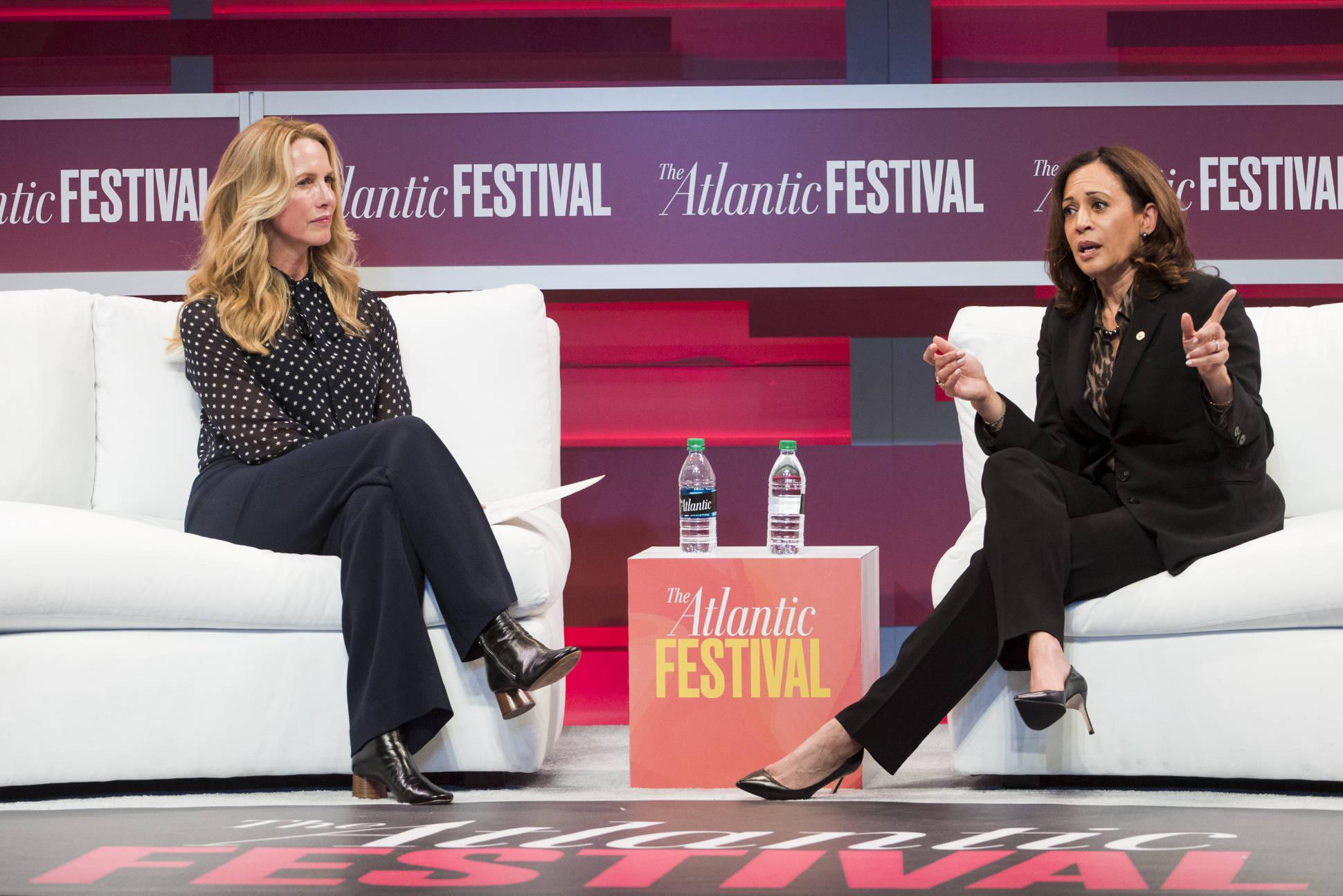 Laurene Powell Jobs and Kamala Harris at The Atlantic Festival