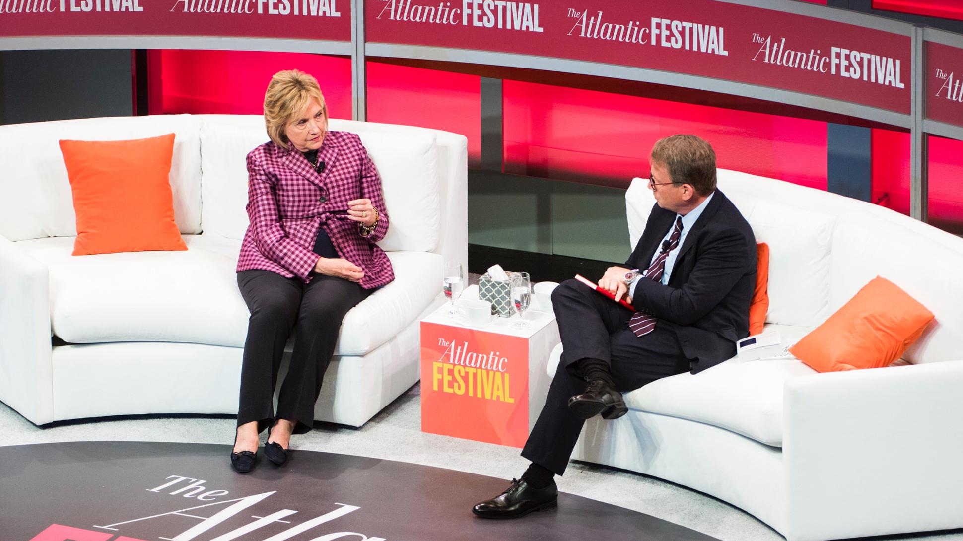 Hillary Clinton and Jeffrey Goldberg at The Atlantic Festival