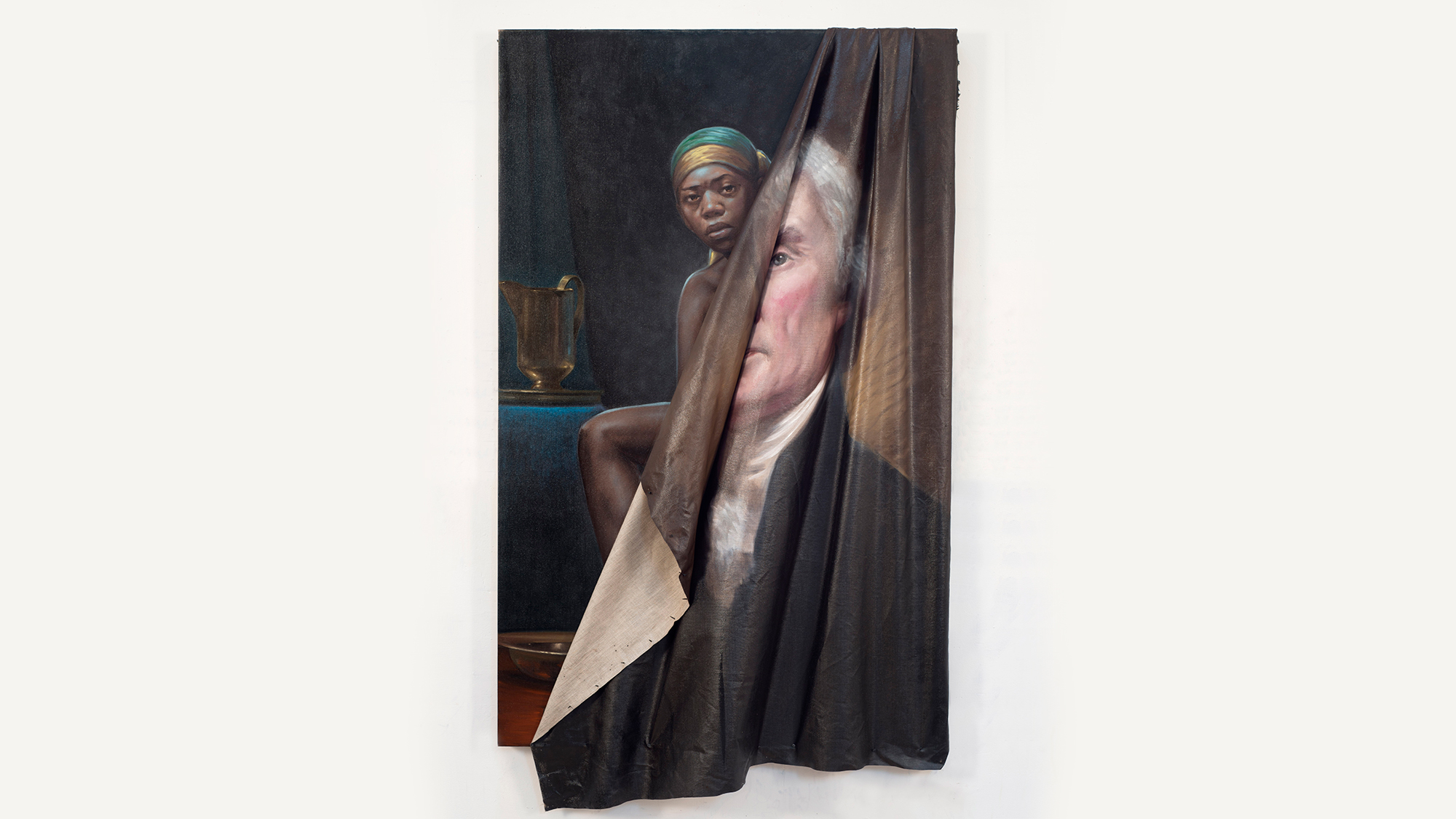 African-American woman revealed behind portrait of Thomas Jefferson