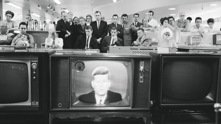 customers in the electronics section of a department store watch as jfk addresses the nation october 22 1962ralph cranetime life picturesgetty