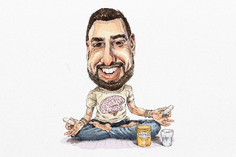 Sketch of a young, bearded man sitting cross legged, a pill in each hand and a glass of water at his feet.