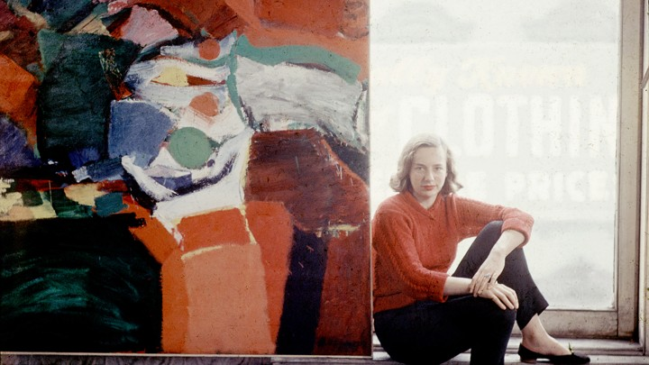Grace Hartigan in her studio, 1957