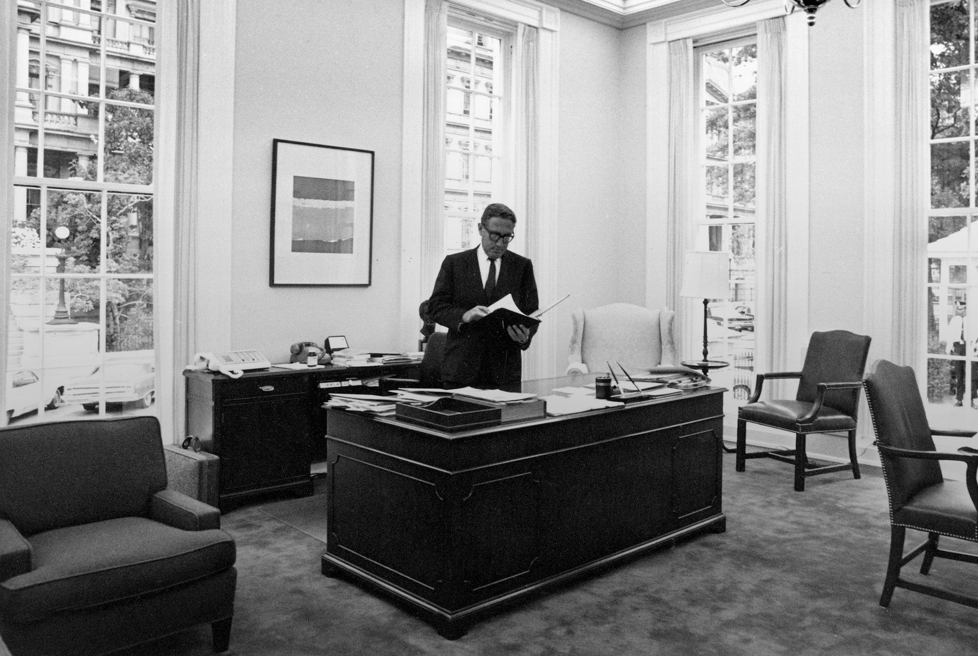 Presidential National Security Adviser Henry Kissinger is shown in his office at the White House in Washington, D.C., Aug. 6, 1970.