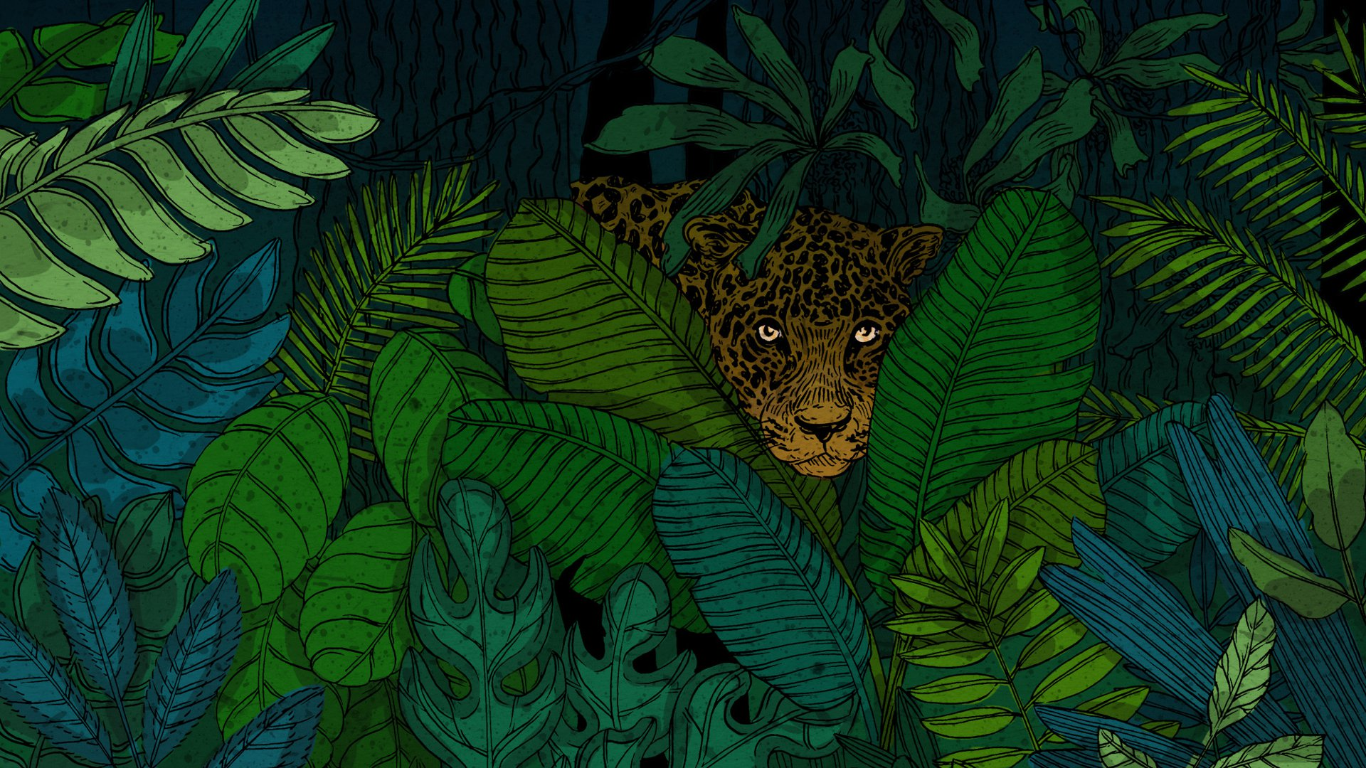 An illustration of a jaguar peeking through plants in a jungle