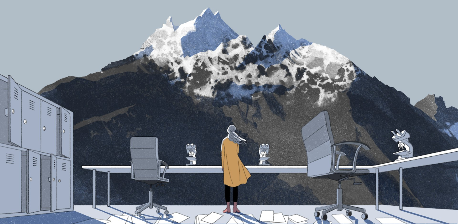A woman stands in a laboratory with no walls and gazes at a glacier on a mountain.