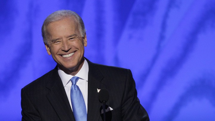 Joe Biden smiling at the 2008 Democratic Convention