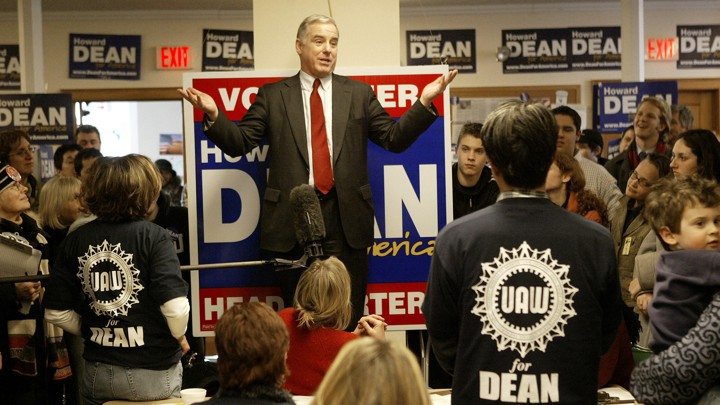 2004 Democratic presidential hopeful former Vermont Gov. Howard Dean speaks to staff and volunteers at the local Dean for America headquarters in Milford, N.H.