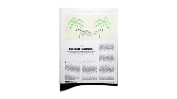 "Image of ""The Stock-Buyback Swindle"" article in print in The Atlantic Magazine"