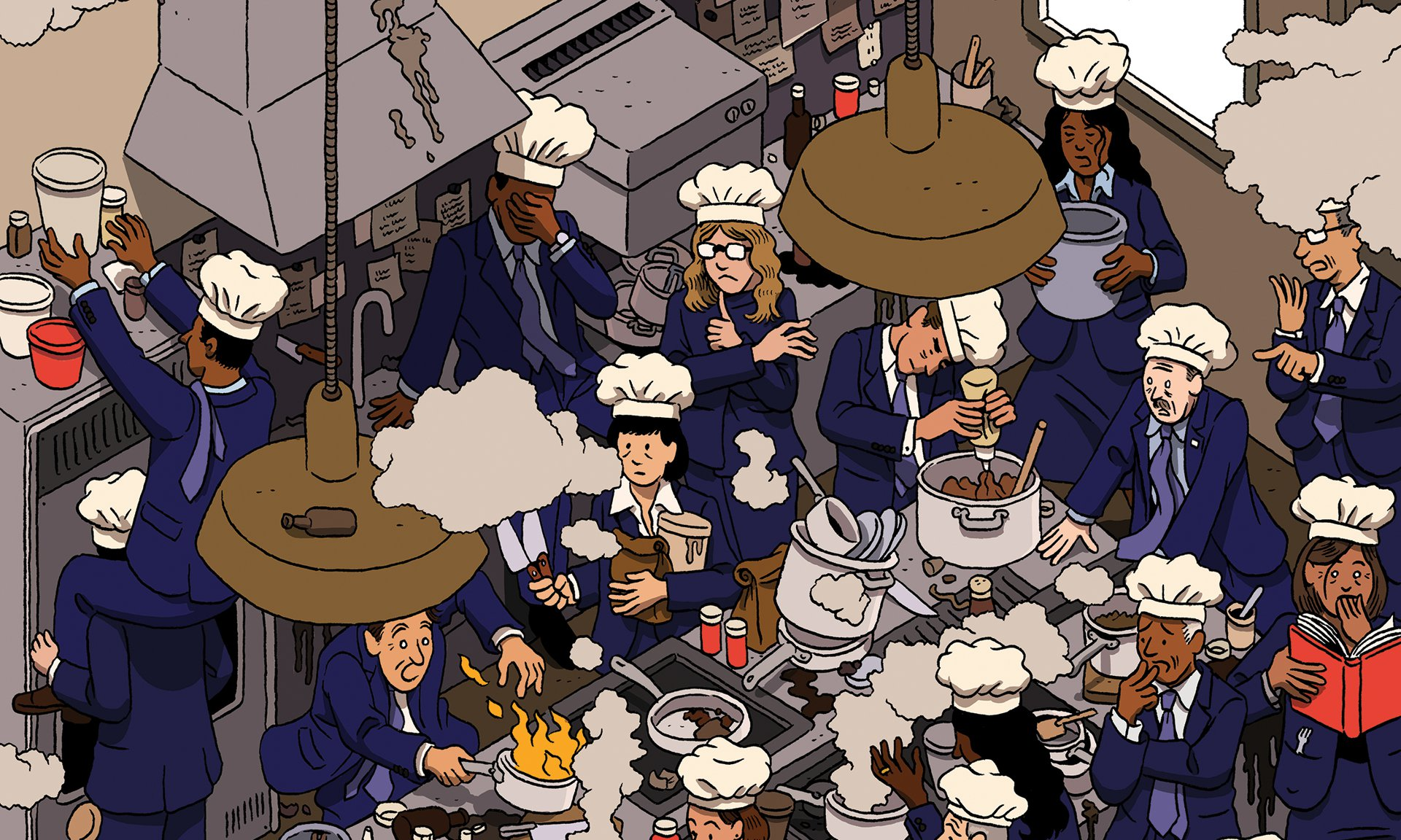illustration of chefs in a crowded kitchen