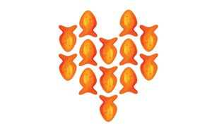 illustration of goldfish arranged in a heart shape