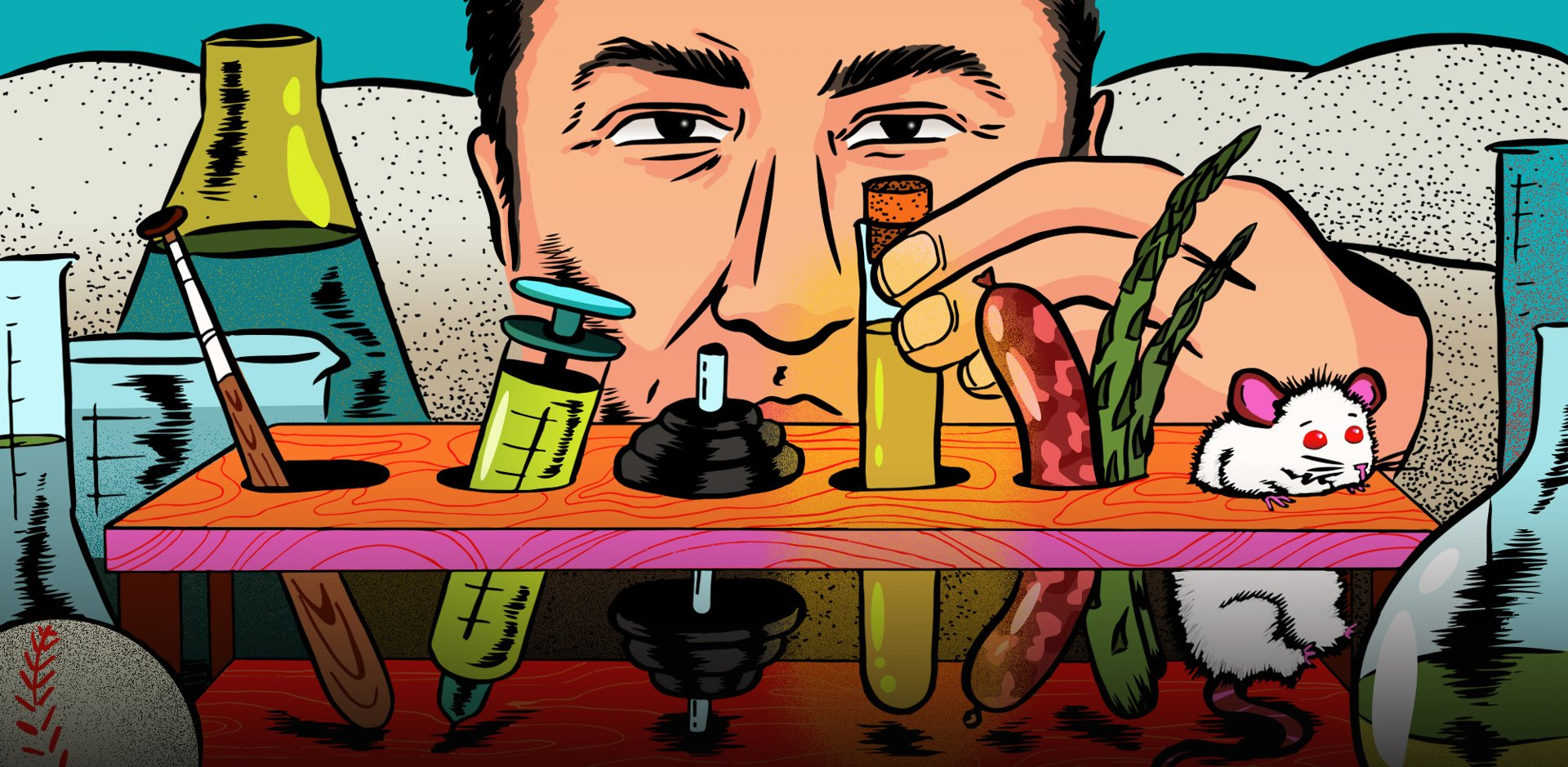An illustration of a scientist looking at a test tube rack filled with miscellaneous items.