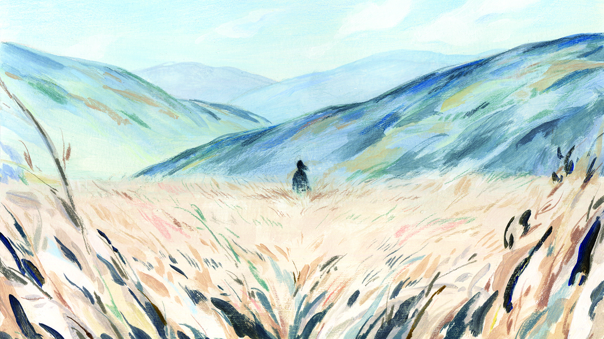 A hand-drawn illustration of a woman walking in a field toward blue mountains.