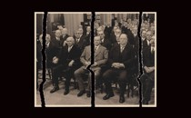 Illustration of a torn photograph of William Howard Taft and a succession of other Republican presidents