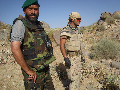Afghan National Army and Canadian Forces in mountains above Darvishan village, Khakriz, Afghanistan