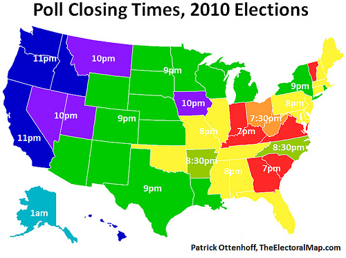 Poll Closing Times, 2010 Elections