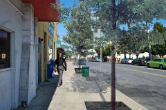 improved with wider sidewalk, street trees (courtesy of SvR Design)