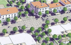 a suburban intersection after repair (courtesy of Galina Tachieva, Sprawl Repair Manual)