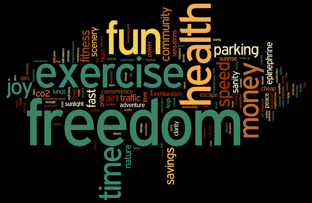 word cloud of why we ride