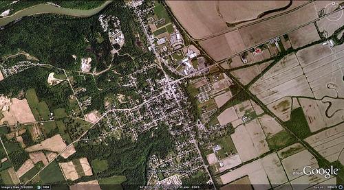 satellite photo of Mount Morris (via Google Earth)