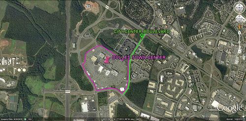 Dulles Town Center & City Center Blvd (via Google Earth)