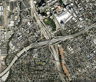 freeways in downtown San Jose (via Google Earth)