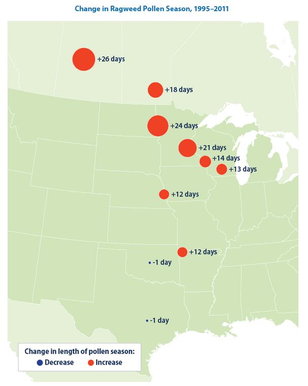 EPA map of longer ragweed allergy season
