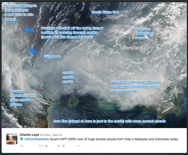 @NOAASatellites Suomi-NPP VIIRS view of huge smoke clouds from fires in Malaysia and Indonesia today: