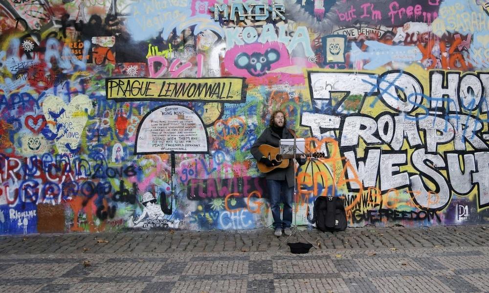 Pragues John Lennon Wall Painted Over The Atlantic