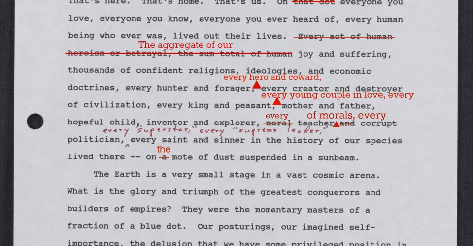 An Early Draft Of Carl Sagans Famous Pale Blue Dot Quote
