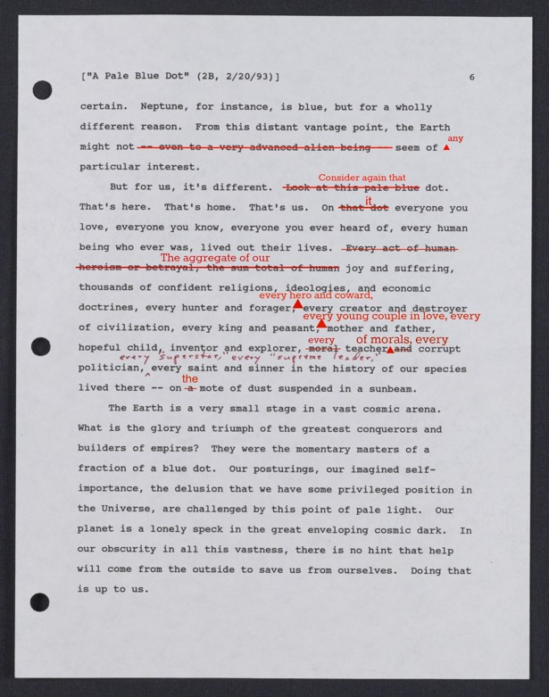 Essay On Terrisom An Early Draft Of Carl Sagans Famous Pale Blue Dot Quote  The Atlantic Essay Warehouse also Essay Structures An Early Draft Of Carl Sagans Famous Pale Blue Dot Quote  The  Sample History Essay