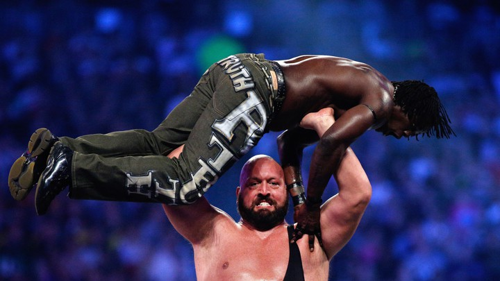 The Big Show Hoists Up R Truth At A Wrestlemania Bout In AprilAP