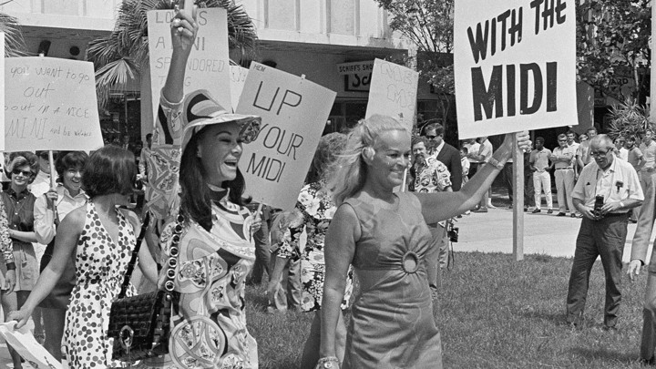 3e82bf99d3139 Mini-skirted women protest the midi in Miami in 1970 Jim Kerlin AP